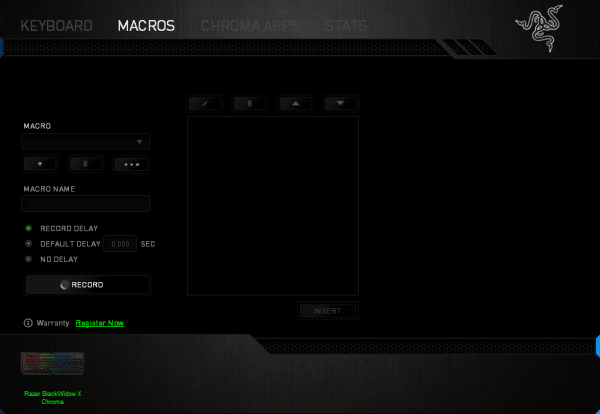 The Macros section allows you to configure automation for the Blackwidow X Chroma