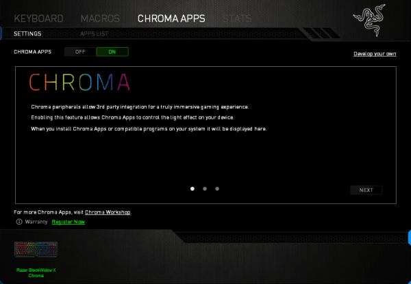 The 'Chroma Apps' section allows for a variety of 3rd-party profiles to be downloaded for the keyboard which configure the lighting appropriately for a particular game. For example, an FPS game may highlight the 'WASD' keys in one colour whilst highlighting the change weapon keys (e.g. 1-4) in another colour for contrast and clarity.