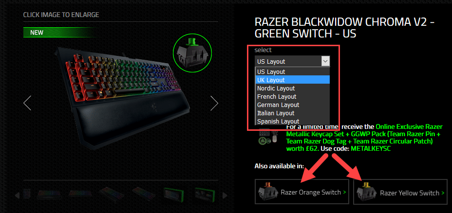 Razer BlackWidow Chroma v2 Configuration Options